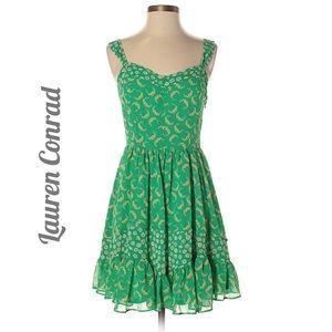 Lauren Conrad green floral ruffle dress